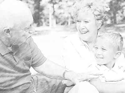 Общение бабушек и дедушек с внуком